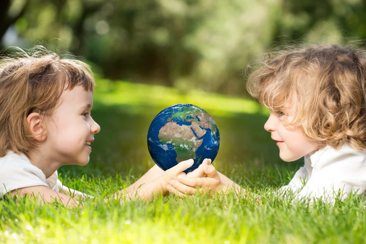 Earth in children`s hands